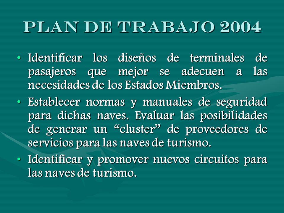 PLAN DE TRABAJO 2004 Identificar los diseños de terminales de pasajeros que mejor se adecuen a las necesidades de los Estados Miembros.Identificar los diseños de terminales de pasajeros que mejor se adecuen a las necesidades de los Estados Miembros.