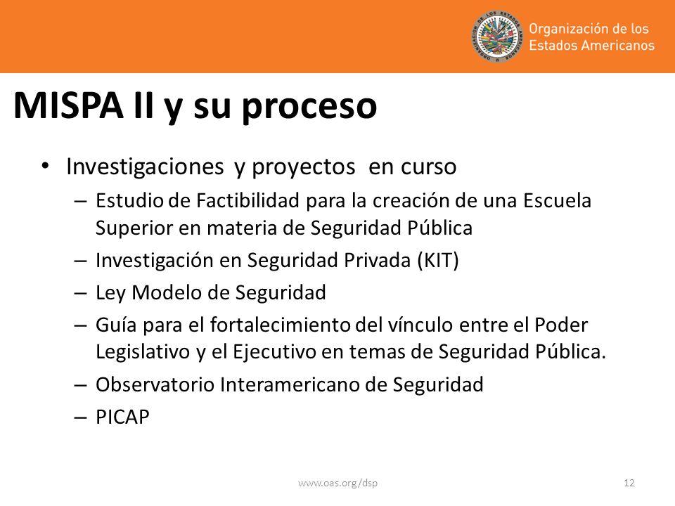 www.oas.org/dsp12 MISPA II y su proceso Investigaciones y proyectos en curso – Estudio de Factibilidad para la creación de una Escuela Superior en materia de Seguridad Pública – Investigación en Seguridad Privada (KIT) – Ley Modelo de Seguridad – Guía para el fortalecimiento del vínculo entre el Poder Legislativo y el Ejecutivo en temas de Seguridad Pública.