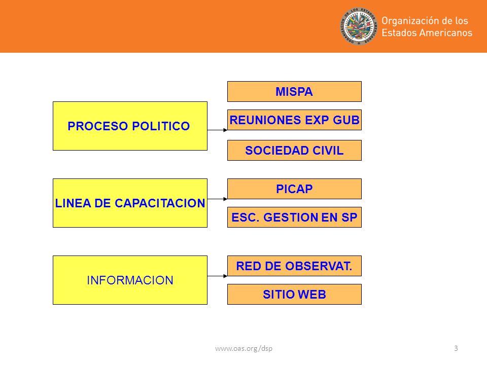 www.oas.org/dsp3 PROCESO POLITICO INFORMACION LINEA DE CAPACITACION MISPA REUNIONES EXP GUB SOCIEDAD CIVIL RED DE OBSERVAT.