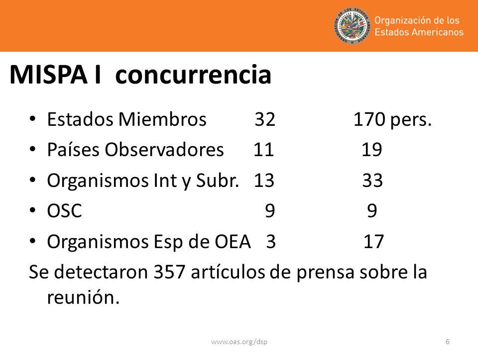 www.oas.org/dsp6 MISPA I concurrencia Estados Miembros 32 170 pers.