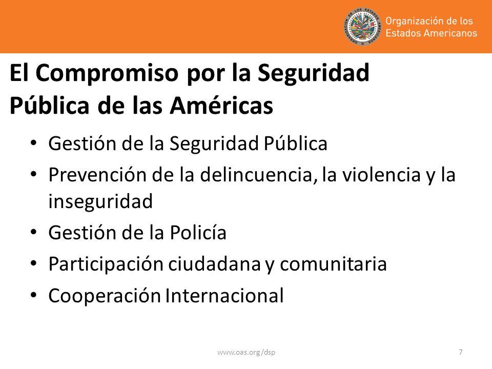 www.oas.org/dsp7 El Compromiso por la Seguridad Pública de las Américas Gestión de la Seguridad Pública Prevención de la delincuencia, la violencia y la inseguridad Gestión de la Policía Participación ciudadana y comunitaria Cooperación Internacional
