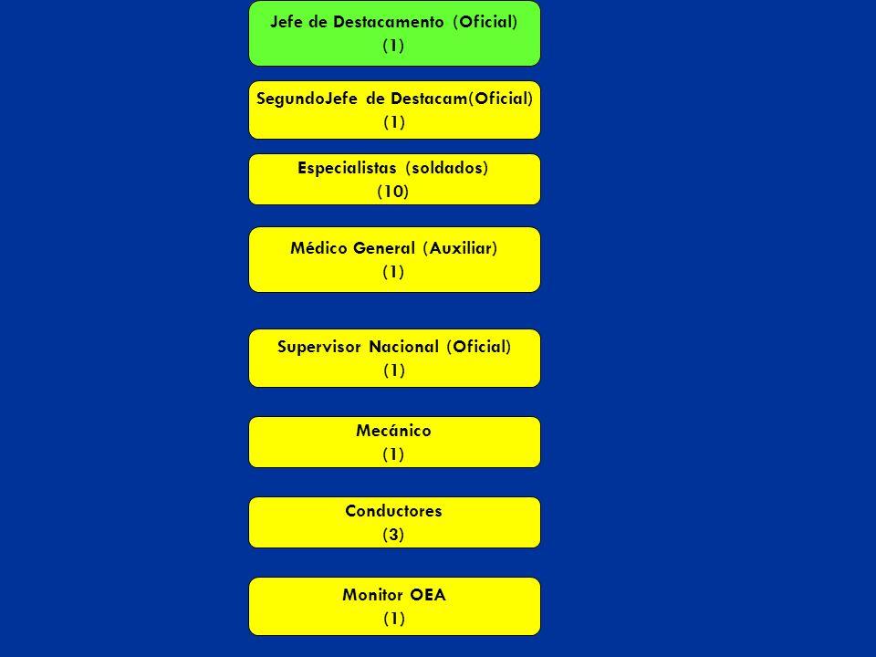 Jefe de Destacamento (Oficial) (1) SegundoJefe de Destacam(Oficial) (1) Especialistas (soldados) (10) Médico General (Auxiliar) (1) Supervisor Naciona