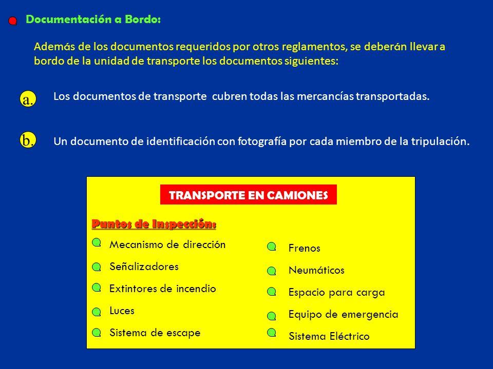 Adem á s de los documentos requeridos por otros reglamentos, se deber á n llevar a bordo de la unidad de transporte los documentos siguientes: Un docu