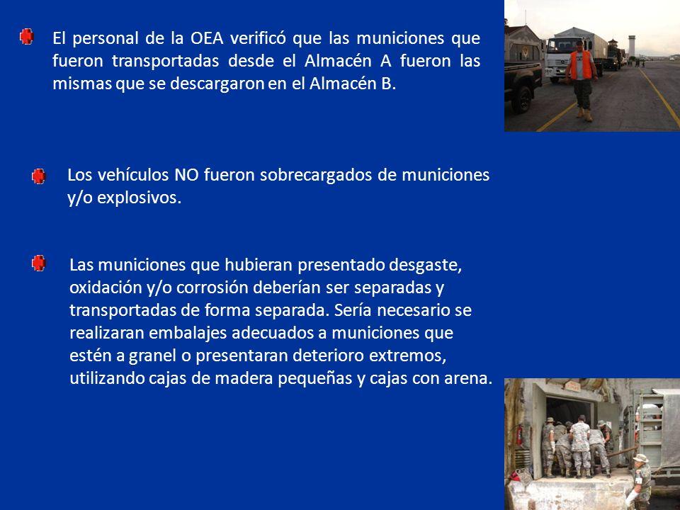 El personal de la OEA verificó que las municiones que fueron transportadas desde el Almacén A fueron las mismas que se descargaron en el Almacén B. Lo
