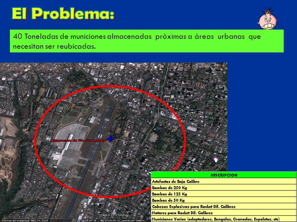 40 Toneladas de municiones almacenadas pròximas a àreas urbanas que necesitan ser reubicadas.