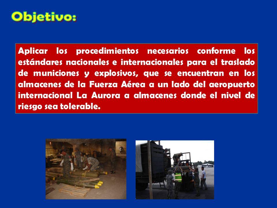 Aplicar los procedimientos necesarios conforme los estándares nacionales e internacionales para el traslado de municiones y explosivos, que se encuent