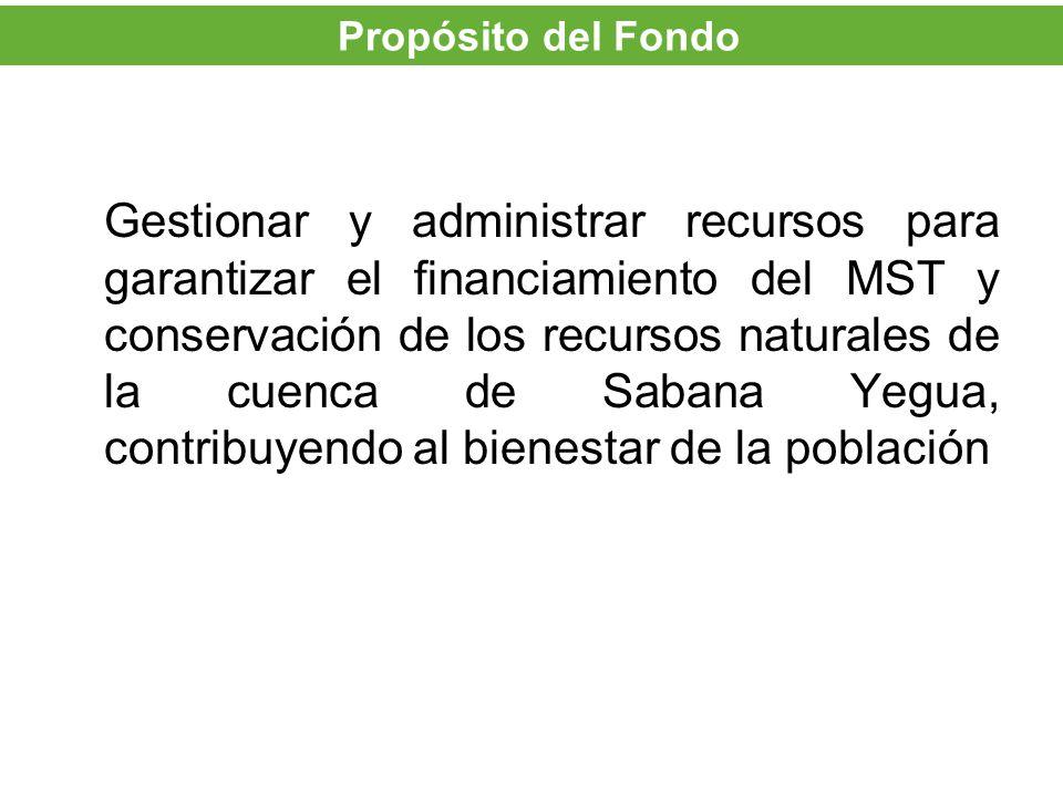 Gestionar y administrar recursos para garantizar el financiamiento del MST y conservación de los recursos naturales de la cuenca de Sabana Yegua, cont