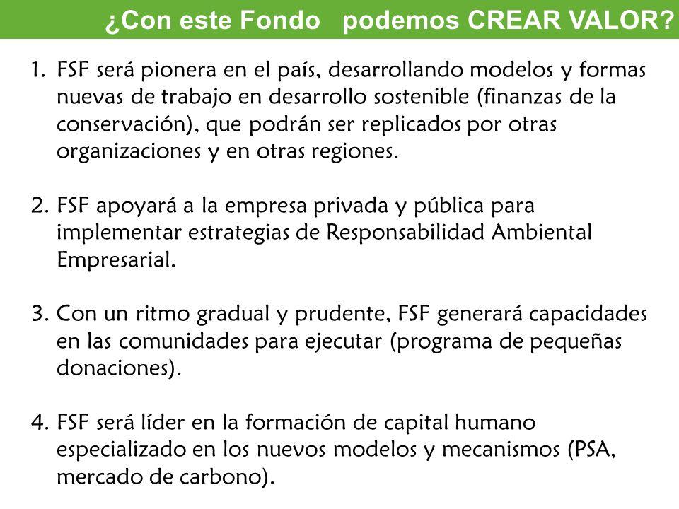 Oportunidades de inversión ¿Con este Fondo podemos CREAR VALOR? 1.FSF será pionera en el país, desarrollando modelos y formas nuevas de trabajo en des
