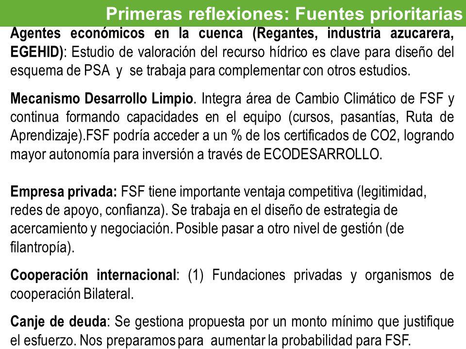 Oportunidades de inversión Primeras reflexiones: Fuentes prioritarias Agentes económicos en la cuenca (Regantes, industria azucarera, EGEHID) : Estudi