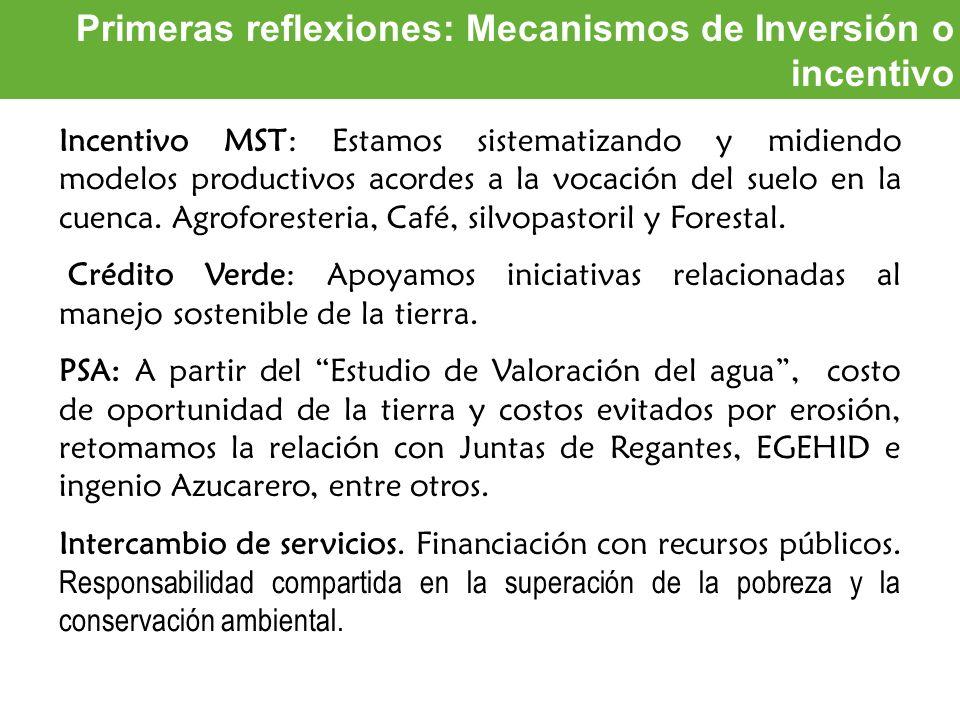 Oportunidades de inversión Primeras reflexiones: Mecanismos de Inversión o incentivo Incentivo MST: Estamos sistematizando y midiendo modelos producti