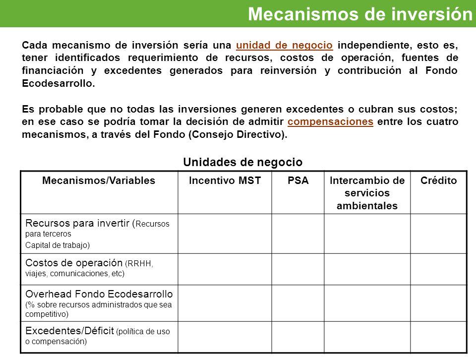 Oportunidades de inversión Mecanismos de inversión Cada mecanismo de inversión sería una unidad de negocio independiente, esto es, tener identificados