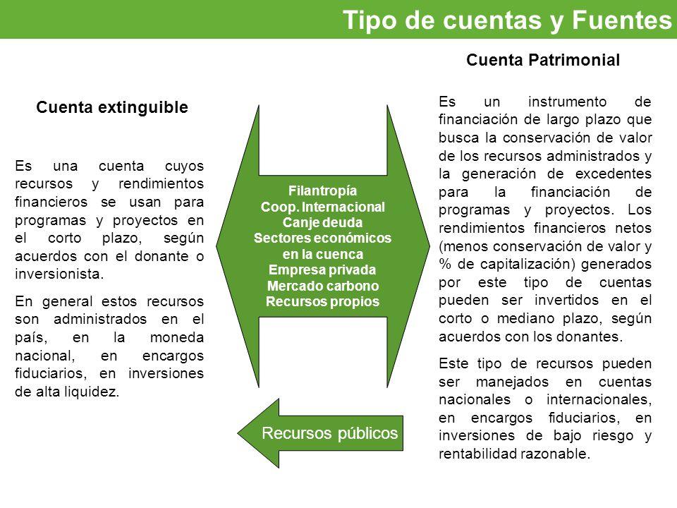Oportunidades de inversión Tipo de cuentas y Fuentes Cuenta extinguible Cuenta Patrimonial Es una cuenta cuyos recursos y rendimientos financieros se