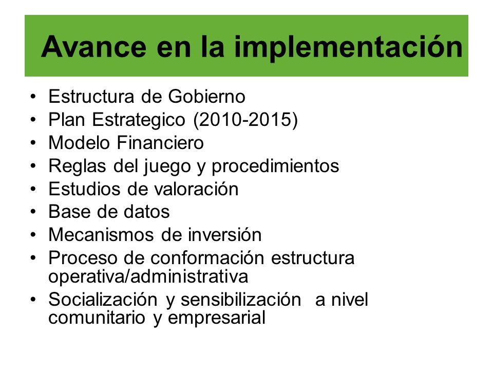Estructura de Gobierno Plan Estrategico (2010-2015) Modelo Financiero Reglas del juego y procedimientos Estudios de valoración Base de datos Mecanismo