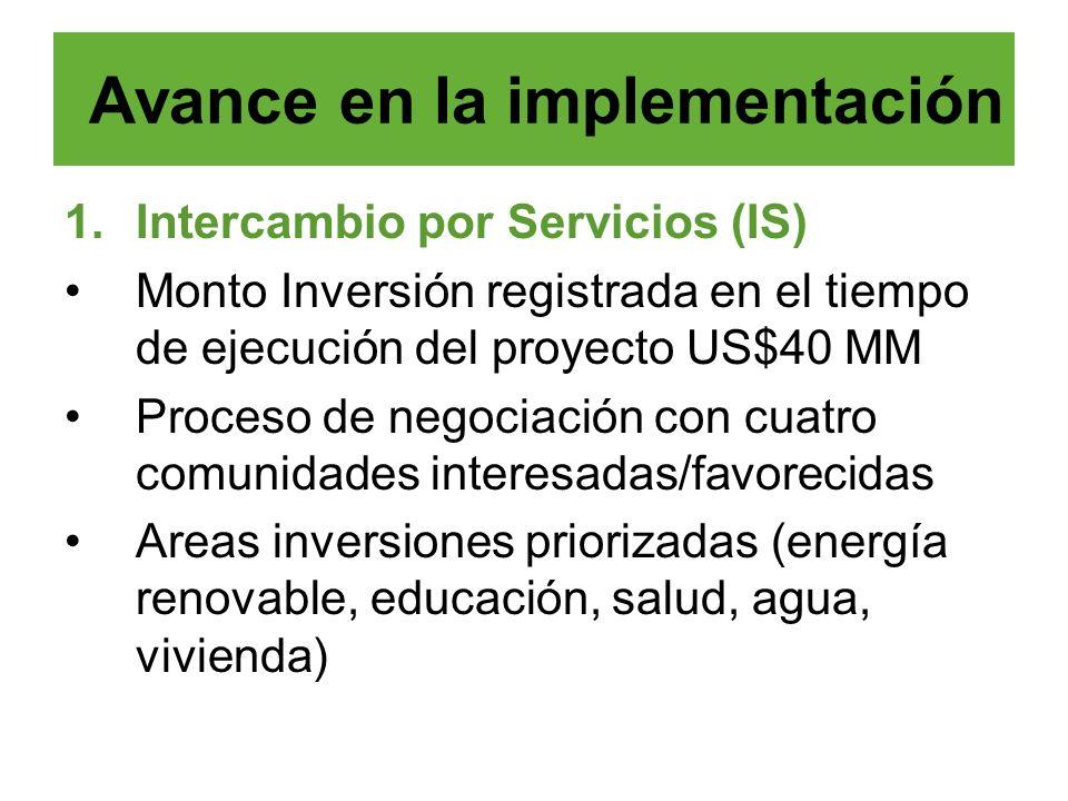 1.Intercambio por Servicios (IS) Monto Inversión registrada en el tiempo de ejecución del proyecto US$40 MM Proceso de negociación con cuatro comunida