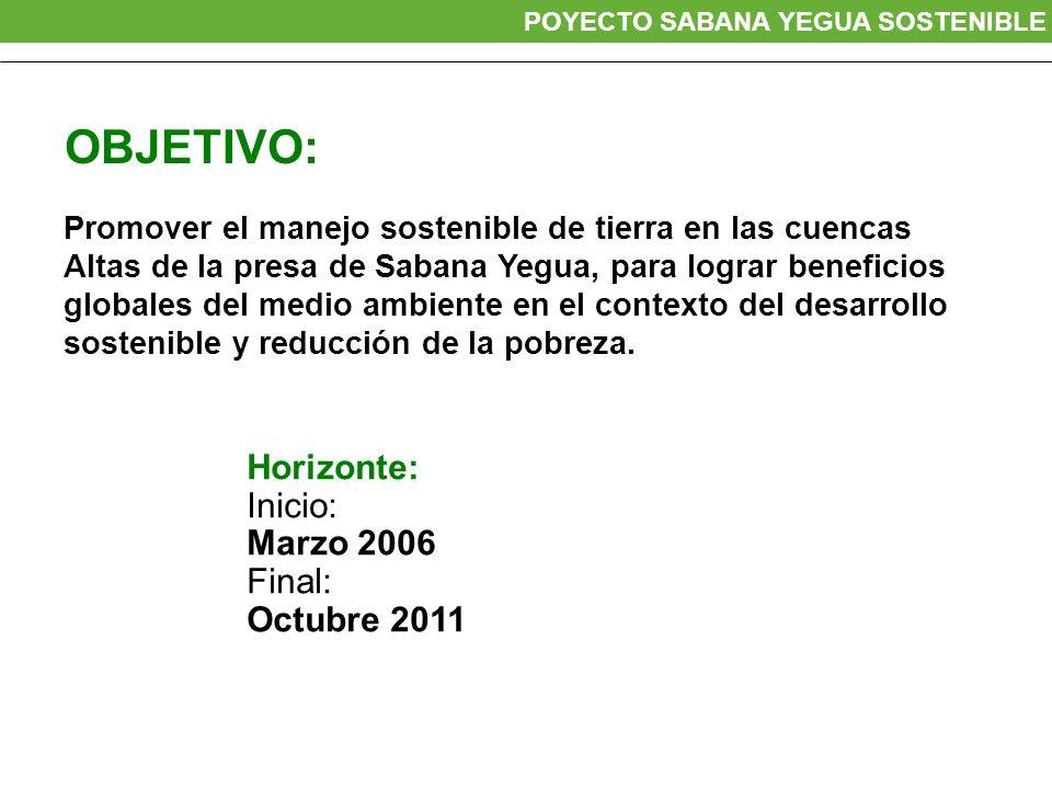 OBJETIVO: Promover el manejo sostenible de tierra en las cuencas Altas de la presa de Sabana Yegua, para lograr beneficios globales del medio ambiente