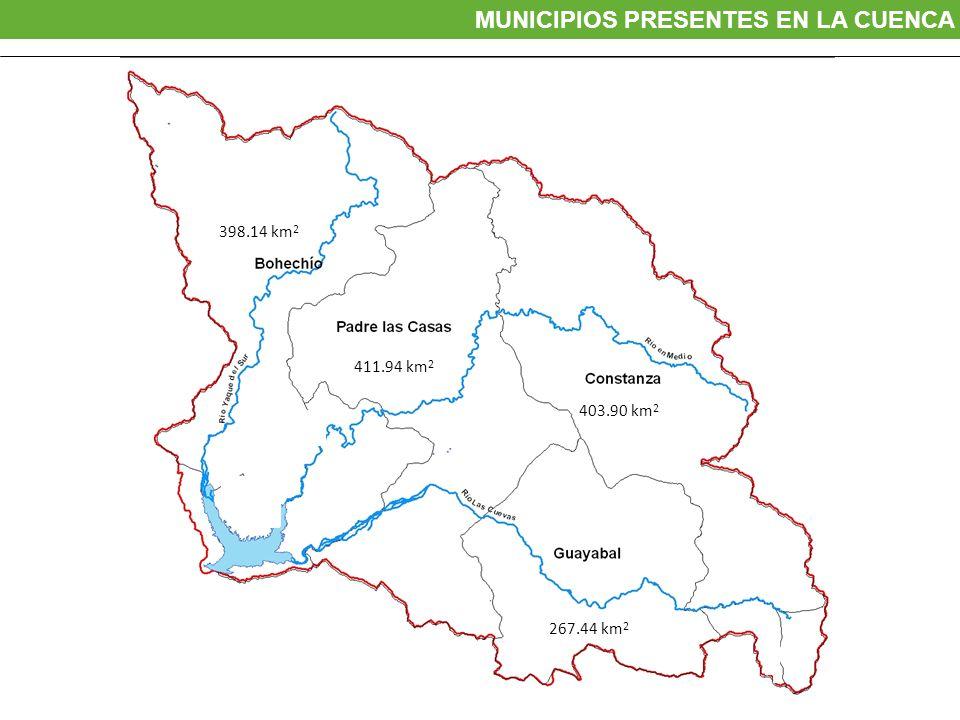 403.90 km 2 267.44 km 2 398.14 km 2 411.94 km 2 MUNICIPIOS PRESENTES EN LA CUENCA