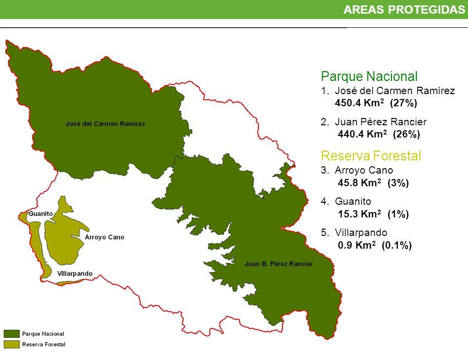 Parque Nacional 1.José del Carmen Ramírez 450.4 Km 2 (27%) 2.Juan Pérez Rancier 440.4 Km 2 (26%) Reserva Forestal 3.Arroyo Cano 45.8 Km 2 (3%) 4.Guani