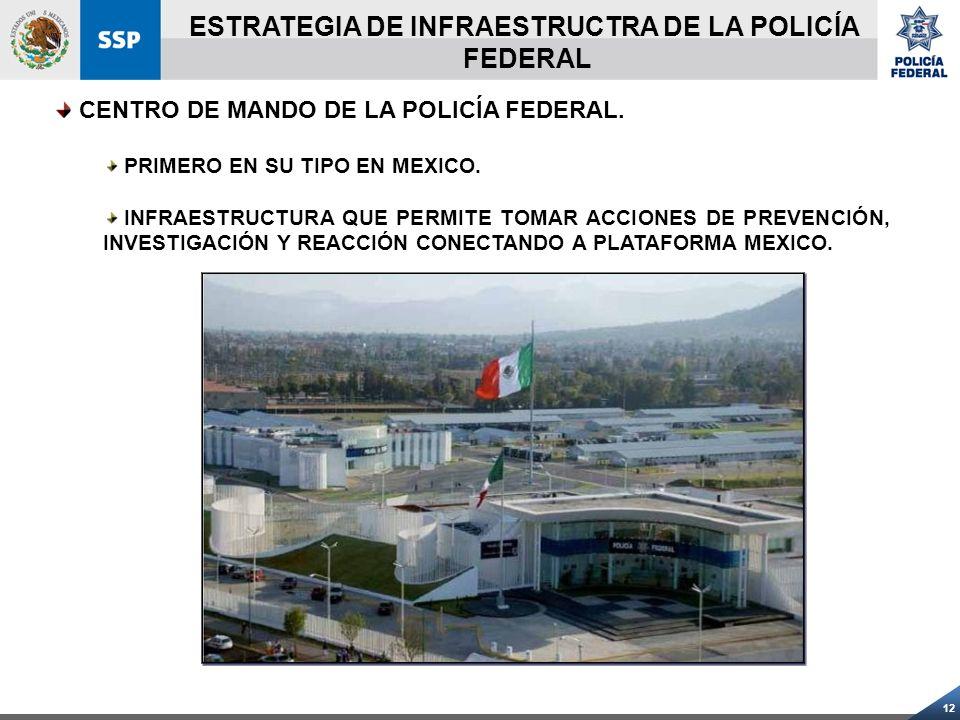 12 CENTRO DE MANDO DE LA POLICÍA FEDERAL. PRIMERO EN SU TIPO EN MEXICO. INFRAESTRUCTURA QUE PERMITE TOMAR ACCIONES DE PREVENCIÓN, INVESTIGACIÓN Y REAC