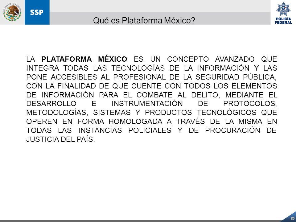 20 LA PLATAFORMA MÉXICO ES UN CONCEPTO AVANZADO QUE INTEGRA TODAS LAS TECNOLOGÍAS DE LA INFORMACIÓN Y LAS PONE ACCESIBLES AL PROFESIONAL DE LA SEGURID