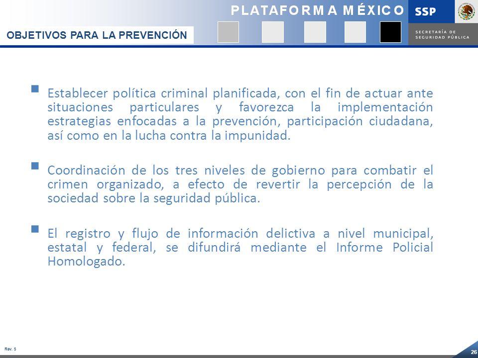 26 Rev. 5 Establecer política criminal planificada, con el fin de actuar ante situaciones particulares y favorezca la implementación estrategias enfoc