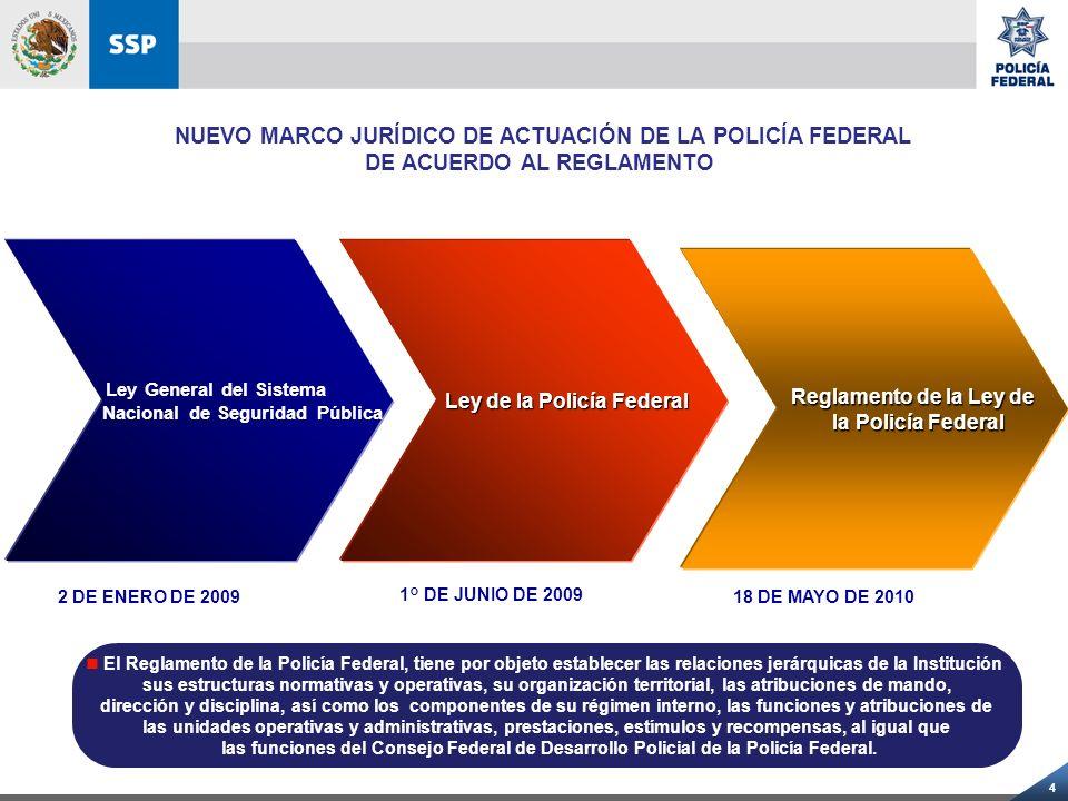 4 Ley General del Sistema Nacional de Seguridad Pública Ley de la Policía Federal Reglamento de la Ley de Reglamento de la Ley de la Policía Federal l