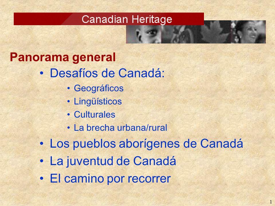 1 Desafíos de Canadá: Geográficos Lingüísticos Culturales La brecha urbana/rural Los pueblos aborígenes de Canadá La juventud de Canadá El camino por recorrer Panorama general