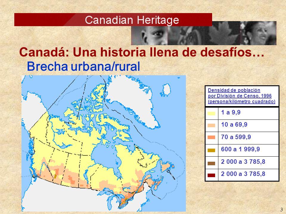3 Brecha urbana/rural 2 000 a 3 785,8 600 a 1 999,9 70 a 599,9 10 a 69,9 1 a 9,9 Densidad de población por División de Censo, 1996 (persona/kilómetro cuadrado)