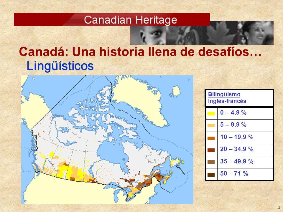 4 Lingüísticos Canadá: Una historia llena de desafíos… 50 – 71 % 35 – 49,9 % 20 – 34,9 % 10 – 19,9 % 5 – 9,9 % 0 – 4,9 % Bilingüismo Inglés-francés