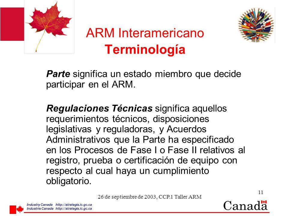 Industry Canada http:/ /strategis.ic.gc.ca Industrie Canada http:/ /strategis.ic.gc.ca 11 26 de septiembre de 2003, CCP.1 Taller ARM ARM Interamericano Terminología Parte significa un estado miembro que decide participar en el ARM.