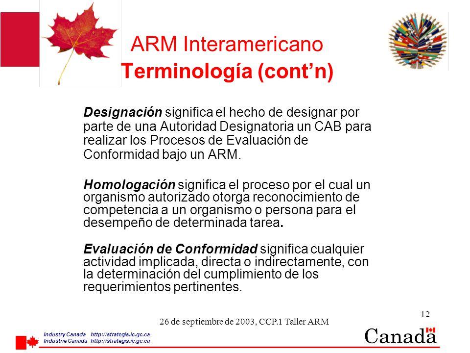 Industry Canada http:/ /strategis.ic.gc.ca Industrie Canada http:/ /strategis.ic.gc.ca 12 26 de septiembre de 2003, CCP.1 Taller ARM ARM Interamericano Terminología (contn) Designación significa el hecho de designar por parte de una Autoridad Designatoria un CAB para realizar los Procesos de Evaluación de Conformidad bajo un ARM.
