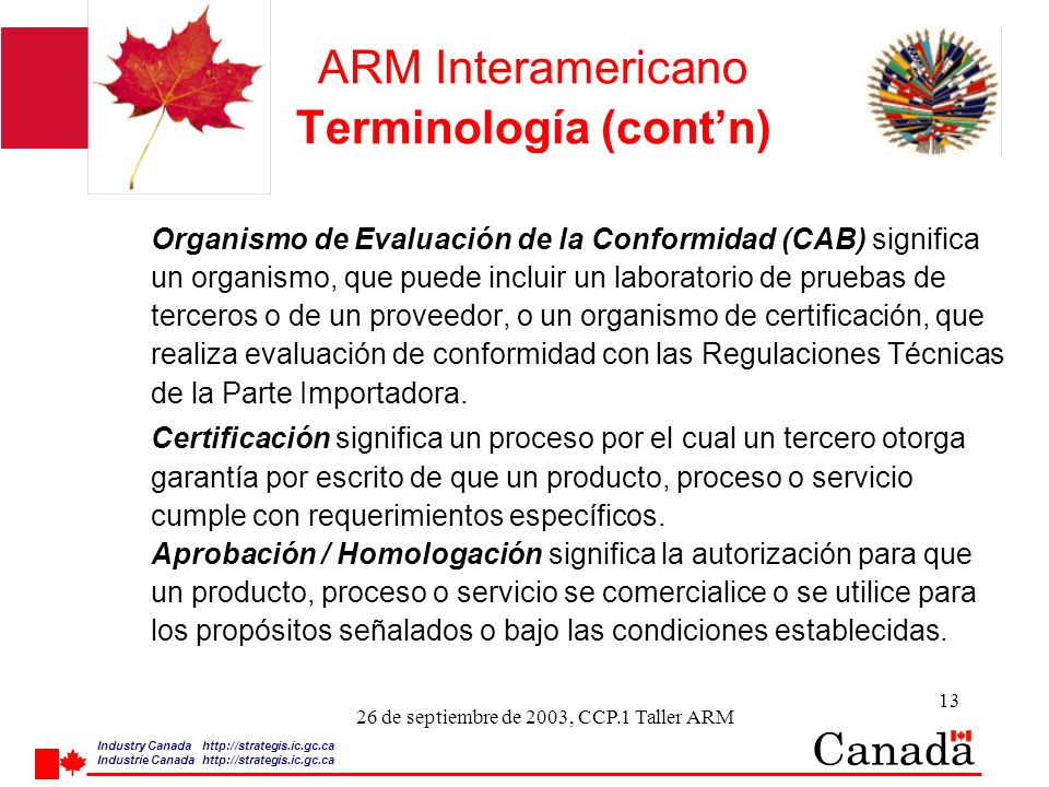 Industry Canada http:/ /strategis.ic.gc.ca Industrie Canada http:/ /strategis.ic.gc.ca 13 26 de septiembre de 2003, CCP.1 Taller ARM ARM Interamerican