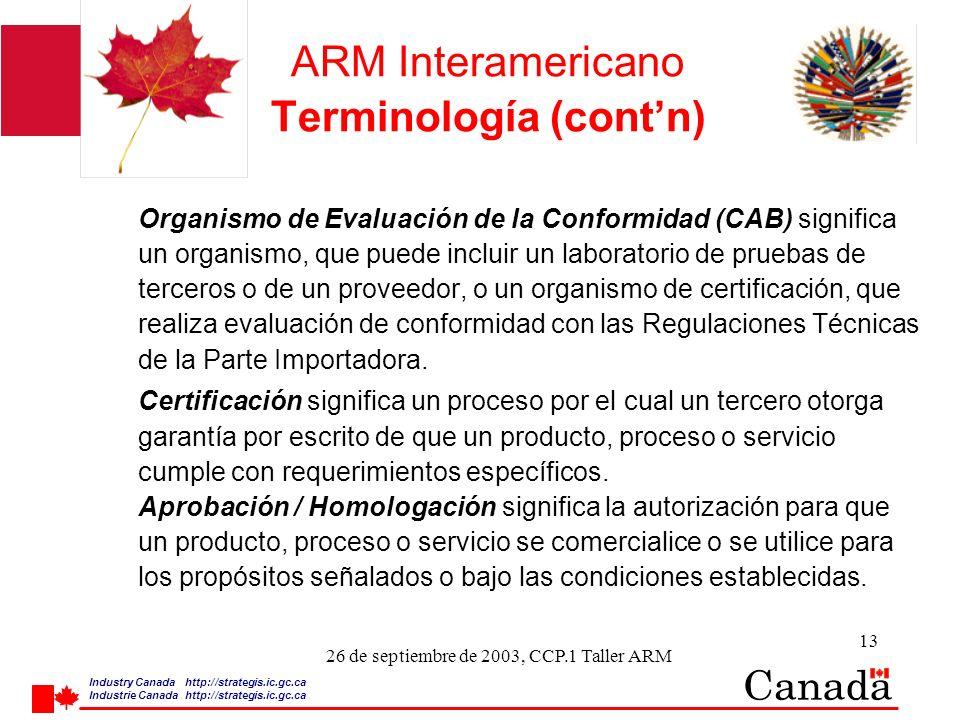 Industry Canada http:/ /strategis.ic.gc.ca Industrie Canada http:/ /strategis.ic.gc.ca 13 26 de septiembre de 2003, CCP.1 Taller ARM ARM Interamericano Terminología (contn) Organismo de Evaluación de la Conformidad (CAB) significa un organismo, que puede incluir un laboratorio de pruebas de terceros o de un proveedor, o un organismo de certificación, que realiza evaluación de conformidad con las Regulaciones Técnicas de la Parte Importadora.