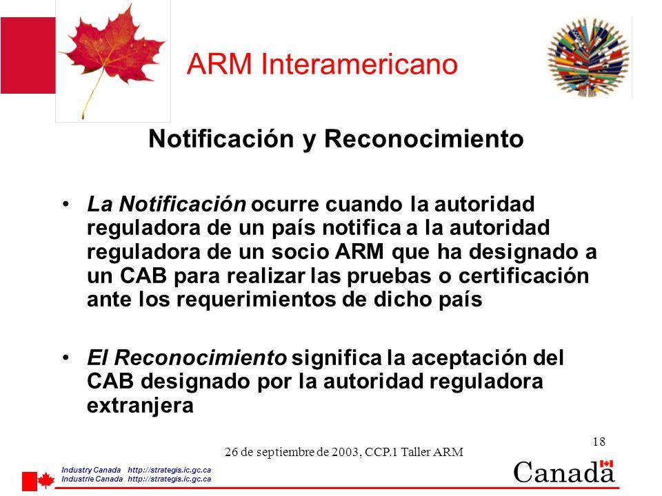 Industry Canada http:/ /strategis.ic.gc.ca Industrie Canada http:/ /strategis.ic.gc.ca 18 26 de septiembre de 2003, CCP.1 Taller ARM Notificación y Reconocimiento La Notificación ocurre cuando la autoridad reguladora de un país notifica a la autoridad reguladora de un socio ARM que ha designado a un CAB para realizar las pruebas o certificación ante los requerimientos de dicho país El Reconocimiento significa la aceptación del CAB designado por la autoridad reguladora extranjera ARM Interamericano