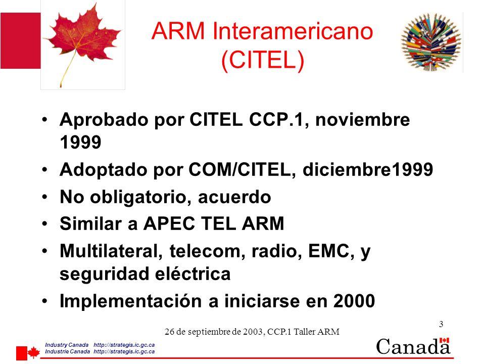 Industry Canada http:/ /strategis.ic.gc.ca Industrie Canada http:/ /strategis.ic.gc.ca 14 26 de septiembre de 2003, CCP.1 Taller ARM ARM Interamericano Requerimientos de nombramiento para lso Organismos de Evaluación de Conformidad (CAB): 2 tipos de CABs – laboratorios de prueba (Fase I) y organismos de certificación (Fase II) La Autoridad Designatoria sólo puede designar CABs dentro de su propio territorio La Autoridad Designatoria puede designar CABs acreditados por organismos de acreditación de las otras Partes Uso de Guías ISO/IEC en la evaluación de conformidad