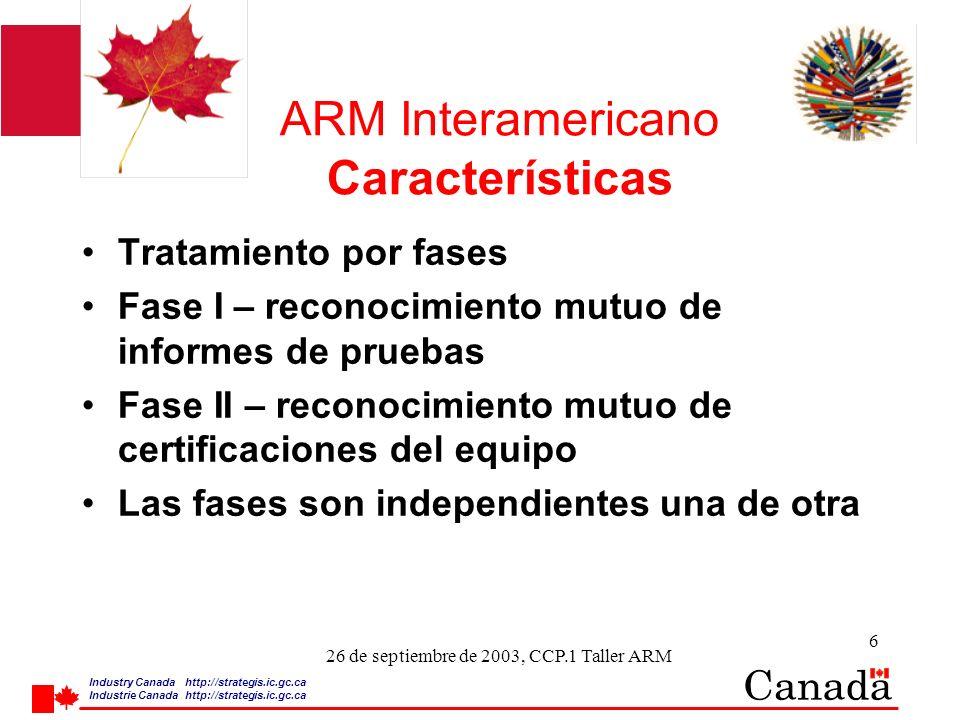 Industry Canada http:/ /strategis.ic.gc.ca Industrie Canada http:/ /strategis.ic.gc.ca 7 26 de septiembre de 2003, CCP.1 Taller ARM ARM Interamericano Características Utilización de Organismos de Evaluación de la Conformidad CABs (laboratorios de prueba y organismos de certificación) Autoridades reguladoras para designar sus propios CABs para probar o certificar ante los requerimientos de su socio en el ARM