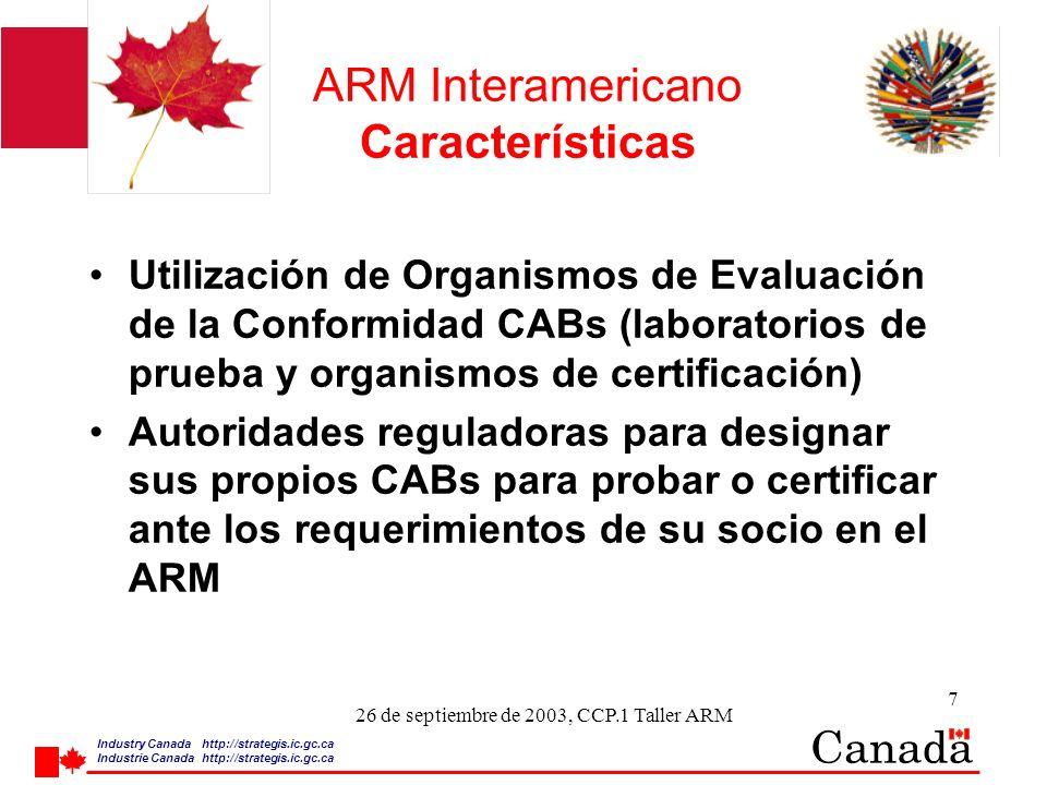 Industry Canada http:/ /strategis.ic.gc.ca Industrie Canada http:/ /strategis.ic.gc.ca 8 26 de septiembre de 2003, CCP.1 Taller ARM ARM Interamericano Características l La Parte Exportadora designa los CABs l Notificación a la Parte Importadora l Reconocimiento de los CABs por la Parte Importadora