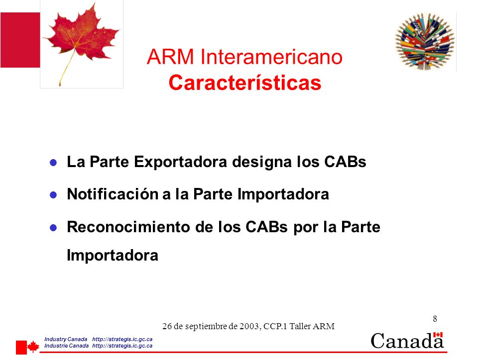 Industry Canada http:/ /strategis.ic.gc.ca Industrie Canada http:/ /strategis.ic.gc.ca 19 26 de septiembre de 2003, CCP.1 Taller ARM ARM Interamericano Notification and Recognition (Contd) ¿Algún problema.