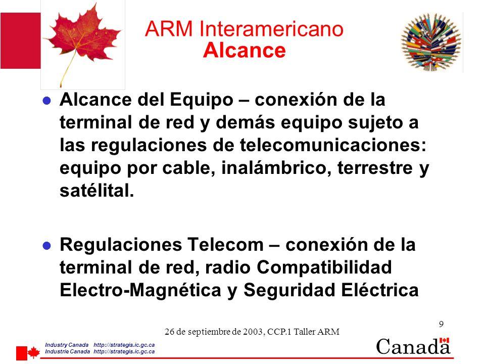 Industry Canada http:/ /strategis.ic.gc.ca Industrie Canada http:/ /strategis.ic.gc.ca 9 26 de septiembre de 2003, CCP.1 Taller ARM ARM Interamericano Alcance l Alcance del Equipo – conexión de la terminal de red y demás equipo sujeto a las regulaciones de telecomunicaciones: equipo por cable, inalámbrico, terrestre y satélital.