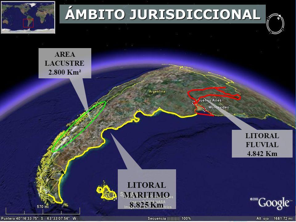 AREA LACUSTRE 2.800 Km² LITORAL MARITIMO 8.825 Km LITORAL FLUVIAL 4.842 Km ÁMBITO JURISDICCIONAL