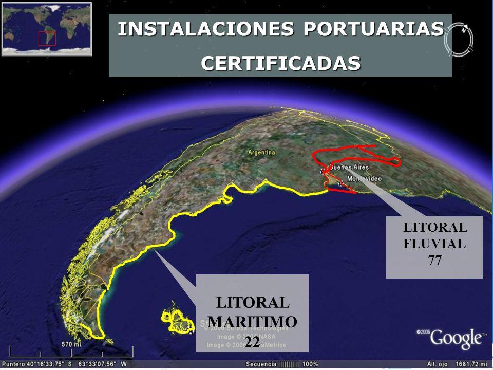 LITORAL MARITIMO 22 LITORAL FLUVIAL 77 INSTALACIONES PORTUARIAS CERTIFICADAS
