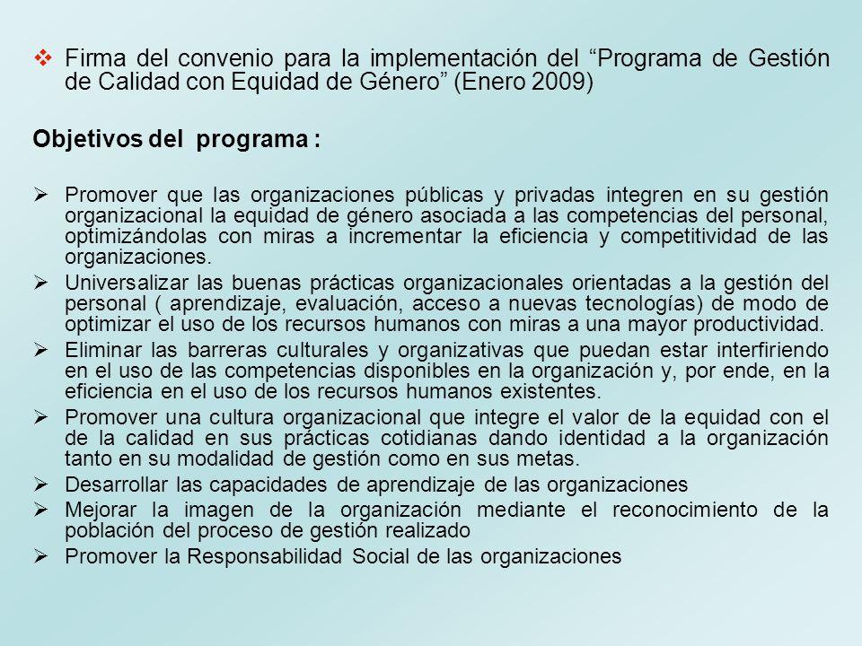 Firma del convenio para la implementación del Programa de Gestión de Calidad con Equidad de Género (Enero 2009) Objetivos del programa : Promover que
