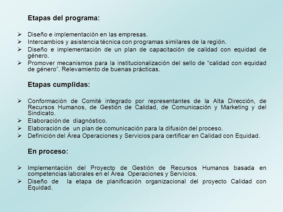 Etapas del programa: Diseño e implementación en las empresas. Intercambios y asistencia técnica con programas similares de la región. Diseño e impleme