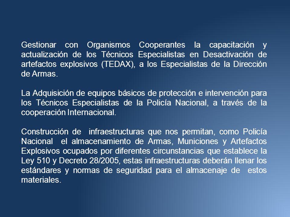 Gestionar con Organismos Cooperantes la capacitación y actualización de los Técnicos Especialistas en Desactivación de artefactos explosivos (TEDAX), a los Especialistas de la Dirección de Armas.