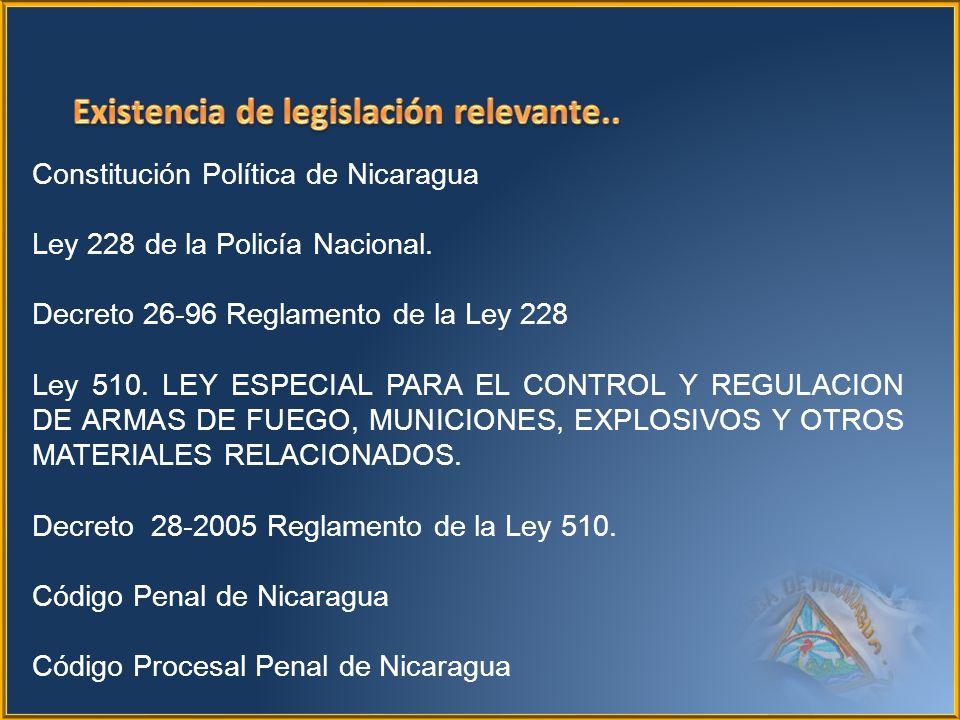 Constitución Política de Nicaragua Ley 228 de la Policía Nacional. Decreto 26-96 Reglamento de la Ley 228 Ley 510. LEY ESPECIAL PARA EL CONTROL Y REGU