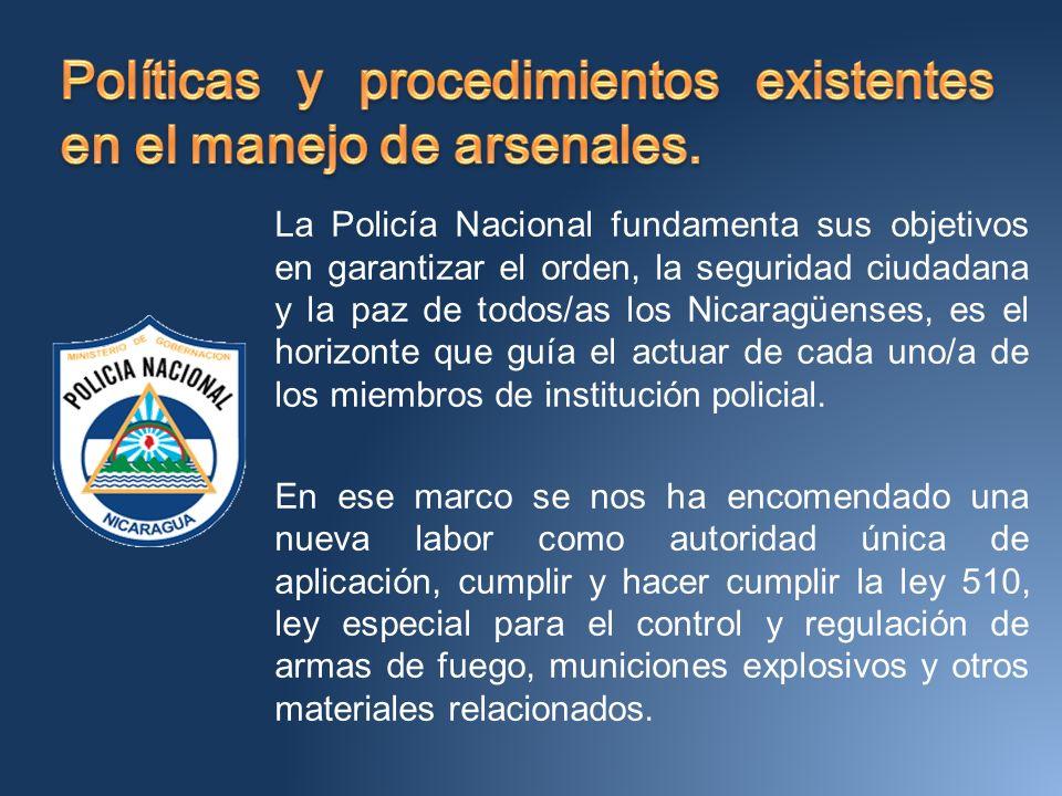La Policía Nacional fundamenta sus objetivos en garantizar el orden, la seguridad ciudadana y la paz de todos/as los Nicaragüenses, es el horizonte que guía el actuar de cada uno/a de los miembros de institución policial.