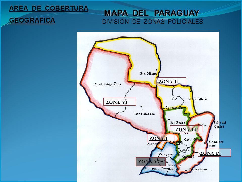 Fte. Olimpo Mcal. Estigarribia ZONA VI Pozo Colorado ZONA II P.J. Caballero Concepción Salto del Guairá San Pedro ZONA III Encarnación San Juan Bautis