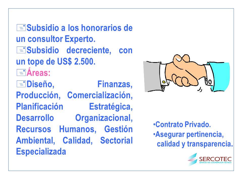 + Subsidio a los honorarios de un consultor Experto. + Subsidio decreciente, con un tope de US$ 2.500. + Áreas: Diseño, Finanzas, Producción, Comercia