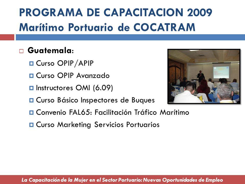 PROGRAMA DE CAPACITACION 2009 Marítimo Portuario de COCATRAM Guatemala: Curso OPIP/APIP Curso OPIP Avanzado Instructores OMI (6.09) Curso Básico Inspe