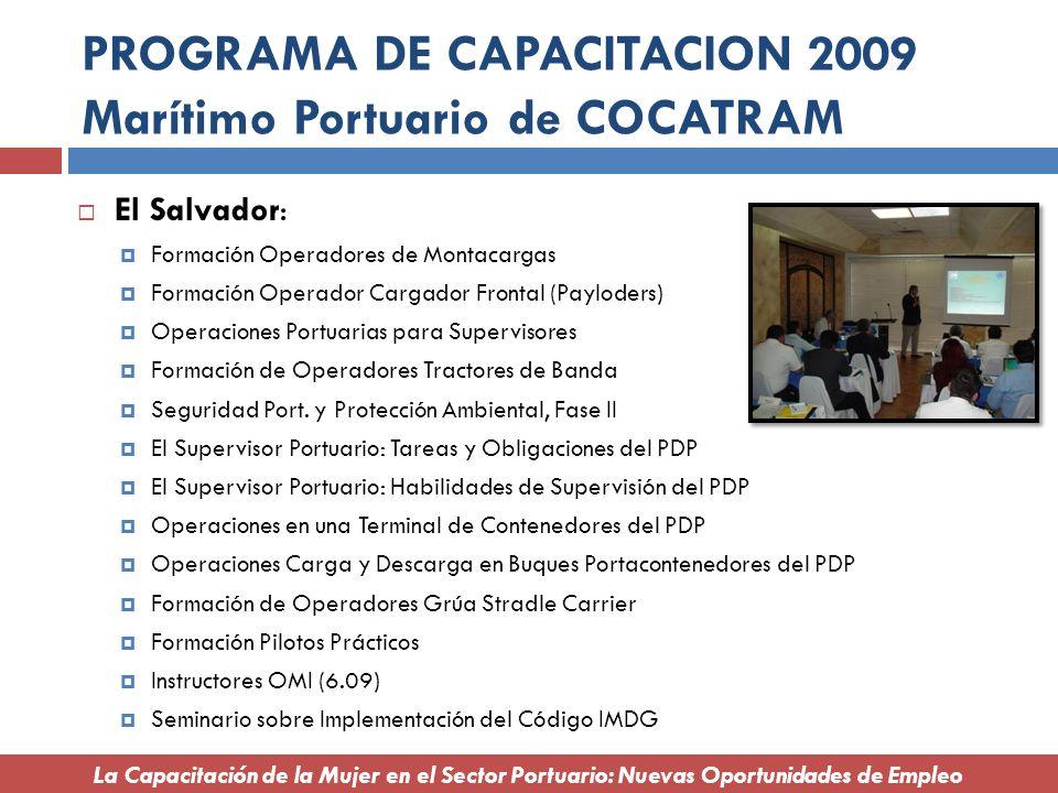 PROGRAMA DE CAPACITACION 2009 Marítimo Portuario de COCATRAM El Salvador: Formación Operadores de Montacargas Formación Operador Cargador Frontal (Pay
