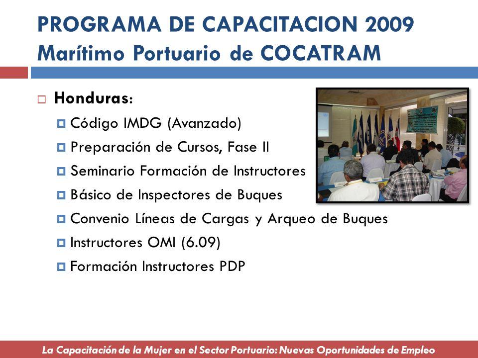 PROGRAMA DE CAPACITACION 2009 Marítimo Portuario de COCATRAM Honduras: Código IMDG (Avanzado) Preparación de Cursos, Fase II Seminario Formación de In